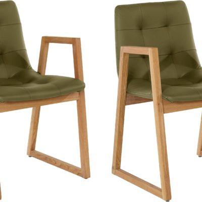 Dwa zielono-oliwkowe fotele, nogi dąb, nowoczesne wzornictwo