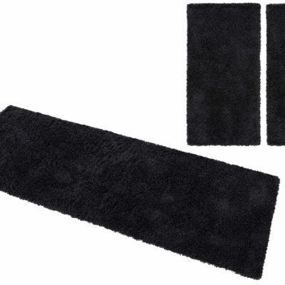3-częściowy zestaw czarnych dywanów, 70x140 i 70x250 cm