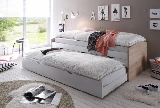 Łóżko funkcyjne dwupoziomowe, rozkładane z szufladami