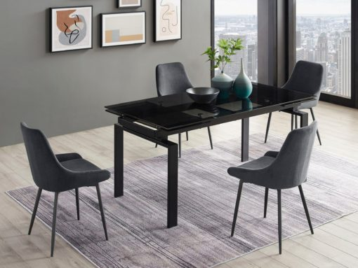 Szare krzesła, czarna metalowa rama - 2 sztuki