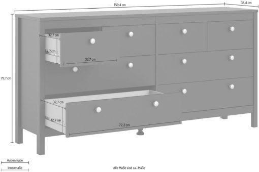 Duża czarna komoda z aż ośmioma szufladami, duński design