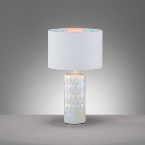 Lampka stołowa/nocna biało-perłowa