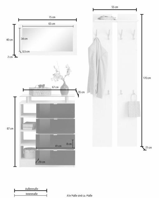 Zestaw mebli do przedpokoju: komoda, lustro i wieszak