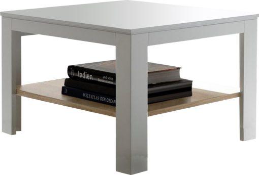 Biały stolik do salonu, kwadratowy z dębową półką
