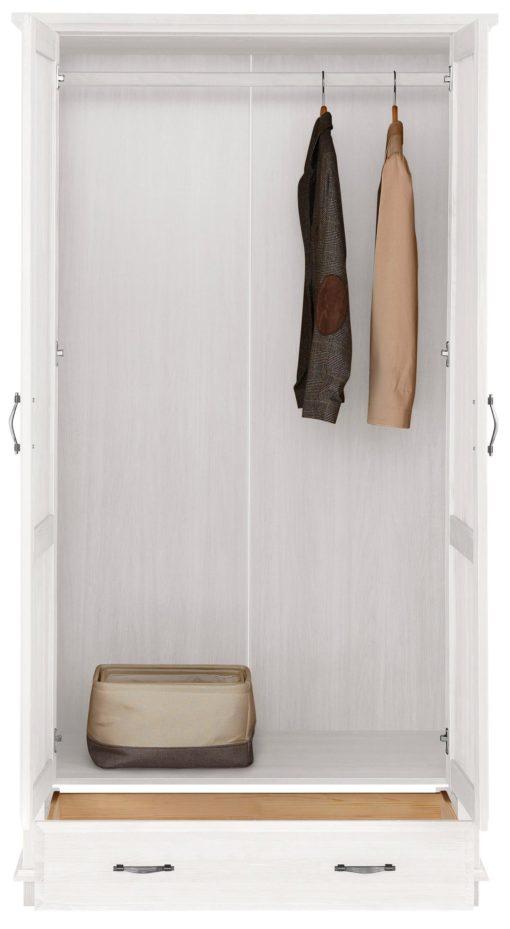 Dwudrzwiowa szafa sosnowa, biała z szufladą
