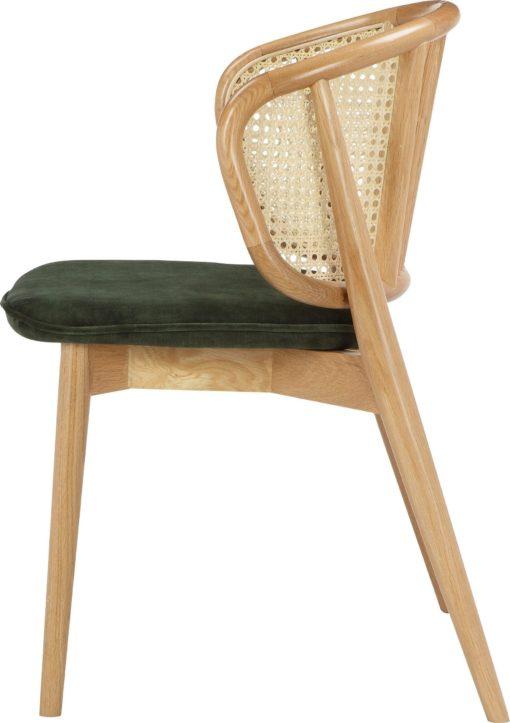 Skandynawskie krzesło z rattanową wstawką i zielonym siedziskiem