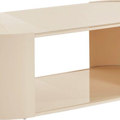 Owalny kremowy stolik w nowoczesnym skandynawskim stylu
