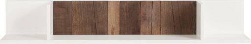 Biała półka, plecy z odzyskanego drewna, 140 cm