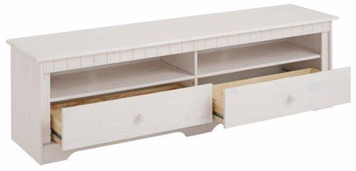 Sosnowa szafka rtv szerokość 160 cm, biała