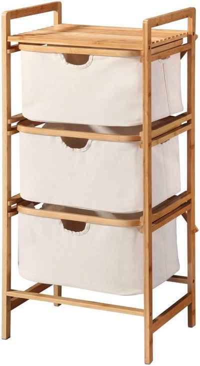 Bambusowy regał z trzema boxami z tkaniny