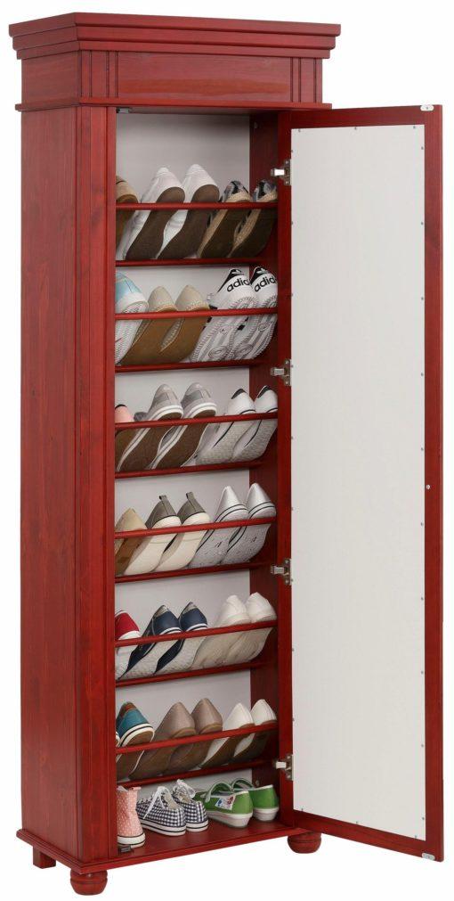 Duża szafa na buty, z lustrzanym frontem, czerwona