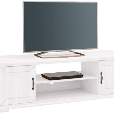 Biała szafka pod telewizor, sosnowa, dwudrzwiowa z półką