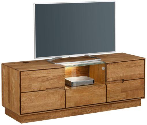 Dębowa szafka pod telewizor z przeszkleniem, 140 cm