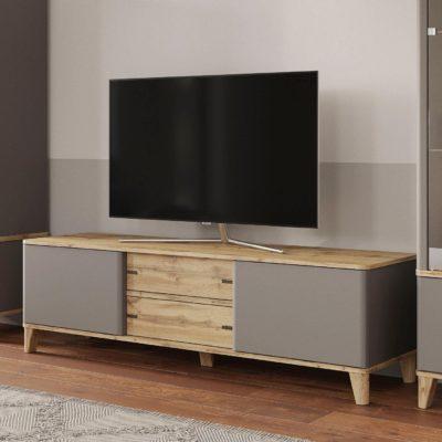 Szafka pod telewizor dębowo-szara, 178,5 cm szerokości