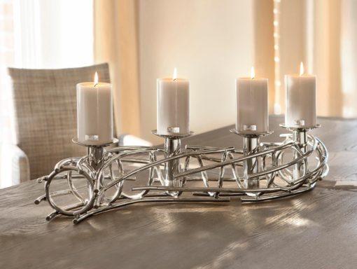 Świecznik Fink niklowany, ręczne wykonanie, na 4 świece