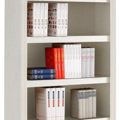 Elegancki regał na książki sosnowy, wysokość 220 cm, biały