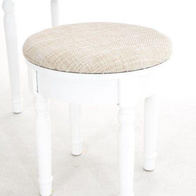 Hoker, stołek do toaletki biały, toczone nogi
