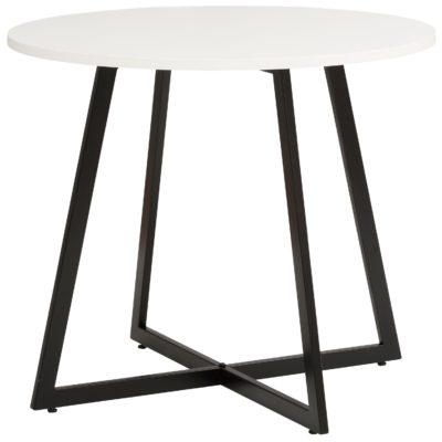 Okrągły stół 90 cm biały blat i metalowe czarne nogi
