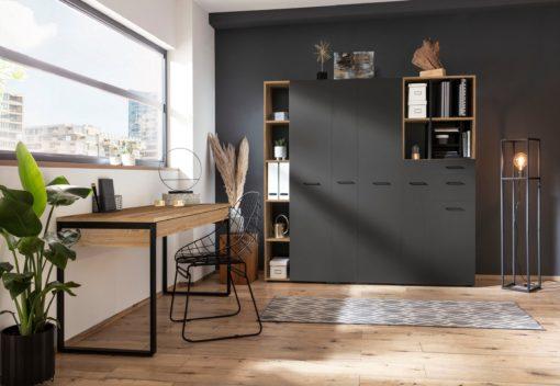 Szafa na dokumenty z drzwiami i półkami, dębowo-grafitowa