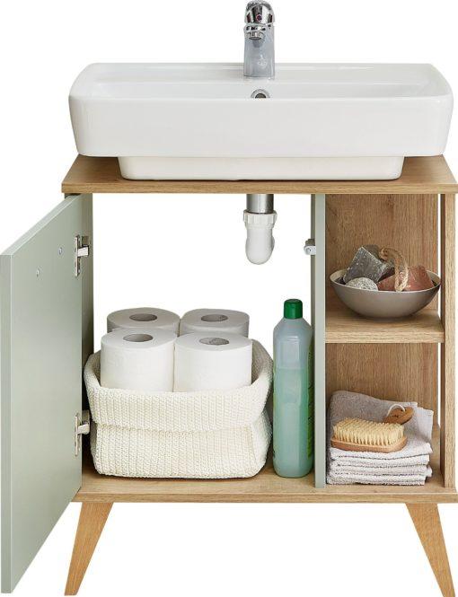 Nowoczesna szafka pod umywalkę w kontrastującej kolorystyce