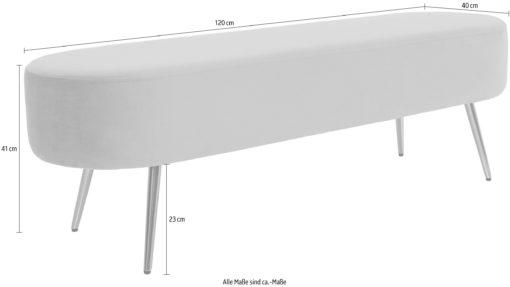 Luksusowa szara ławka w stylu glamour, 120 cm