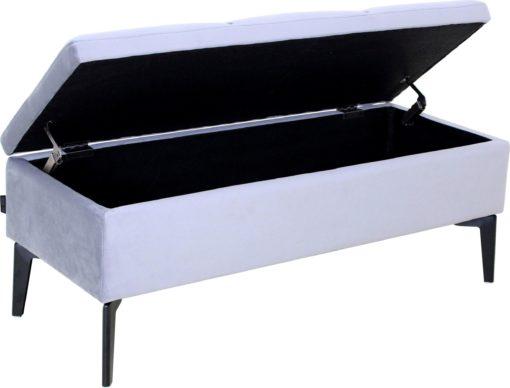 Elegancka szara ławka ze schowkiem i pikowaniem, 100 cm