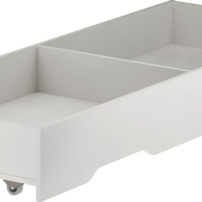 Biała szuflada pod łóżko na kółkach