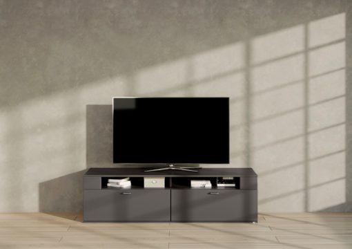 Grafitowa szafka RTV matowa, minimalistyczny design