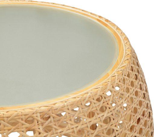 Niesamowity stolik z wikliny ze szklanym blatem