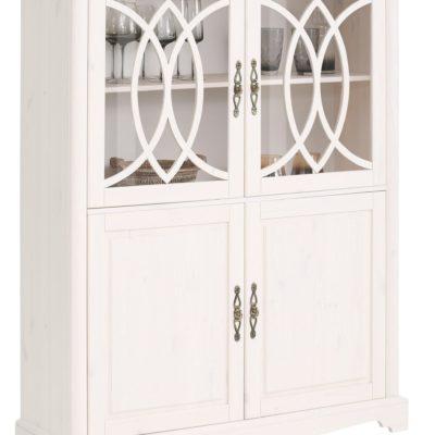Biała witryna z drewna sosnowego, pięknie zdobione drzwi