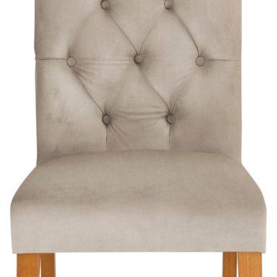 Eleganckie, kremowe krzesło z pikowaniem i kołatką z tyłu