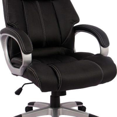 Fotel biurowy czarny, skóra syntetyczna, odchylane oparcie