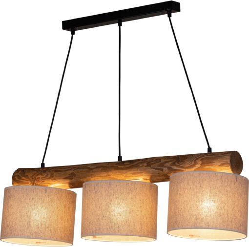 Lampa wisząca industrialna, sosnowa belka