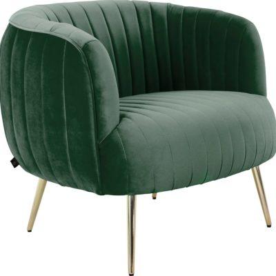 Luksusowy zielony fotel na złotych nogach, glamour