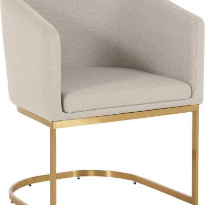Elegancki beżowy fotel na złotej płozie Guido Maria Kretschmer
