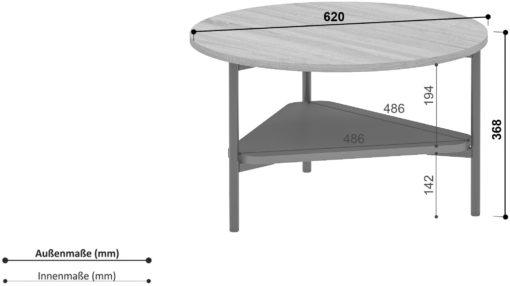 Okrągły stolik w stylu industrialnym, metalowa czarna podstawa