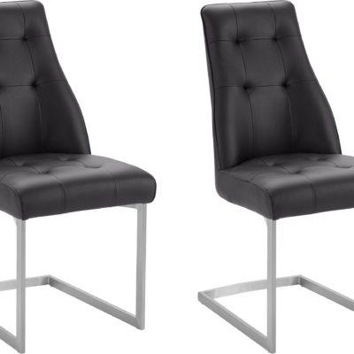 Czarne nowoczesne krzesła na płozach z pikowaniem - 2 sztuki
