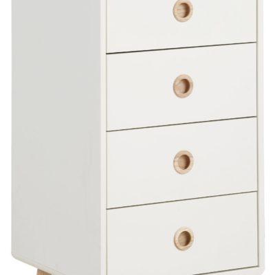 Biała komoda w stylu retro, pięć szuflad, wstawki dębowe