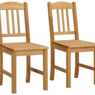 Klasyczne sosnowe krzesła do kuchni - 2 sztuki