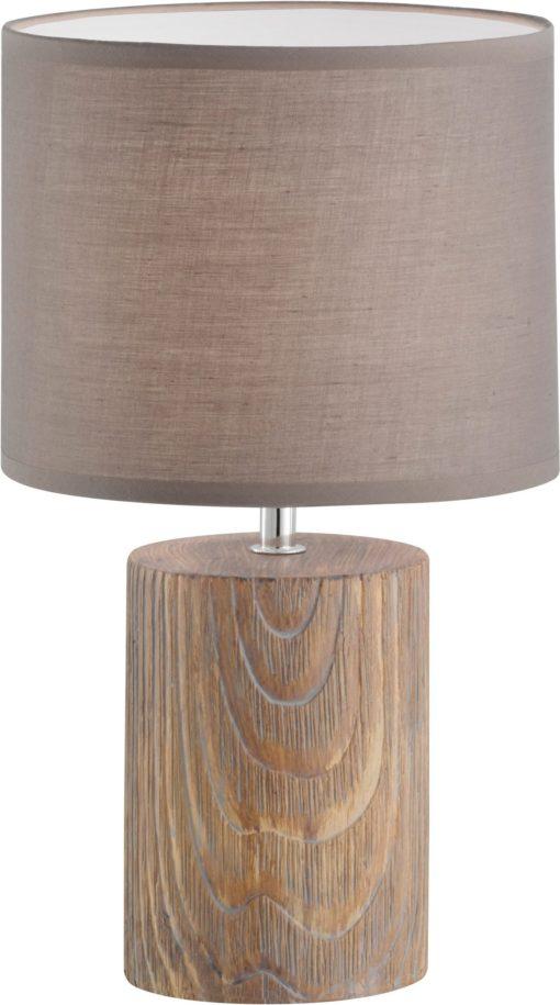 Lampka stołowa, nocna z podstawą imitującą drewno