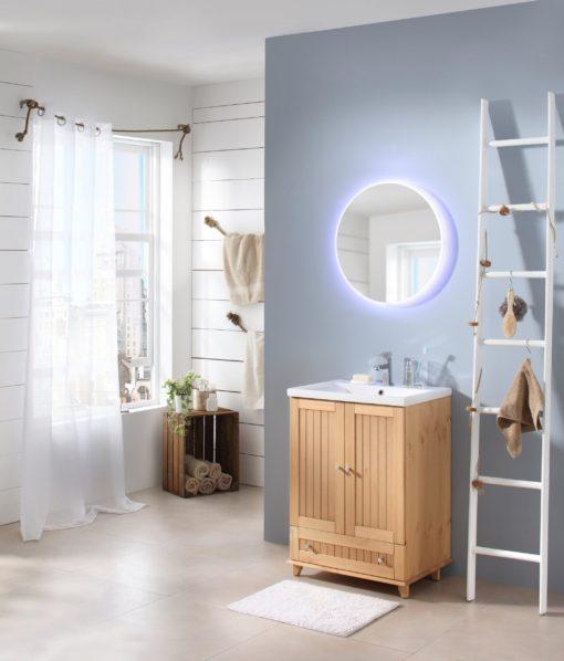 Okrągłe lustro łazienkowe 60 cm, z oświetleniem LED