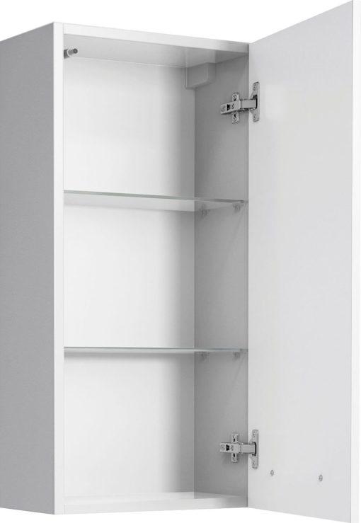 Biała szafka łazienkowa w połysku, wisząca