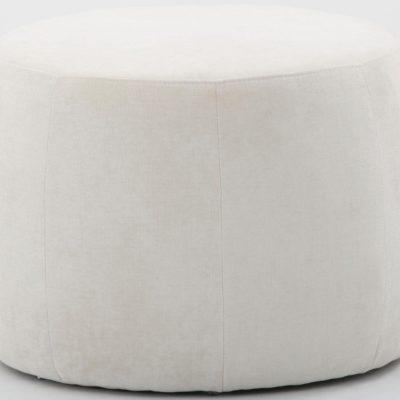 Okrągły puff w kolorze kremowym, średnica 60 cm