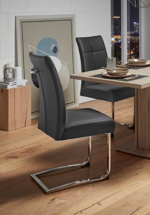 Czarne krzesła na płozach - 2 sztuki, sztuczna skóra