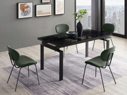 Krzesła ciemna zieleń, nowoczesny design - 2 sztuki