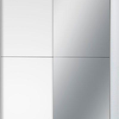 Dwudrzwiowa szafa z lustrem, biała drzwi przesuwne