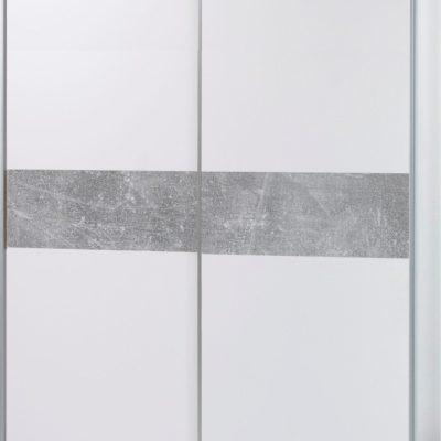 Dwudrzwiowa szafa biała z betonową wstawką, przesuwne drzwi
