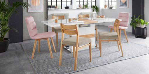 Dębowe krzesła, tapicerowane siedziska - 2 sztuki